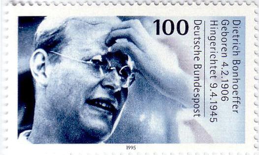 Postzegel met daarop de beeltenis van Dietrich Bonhoeffer