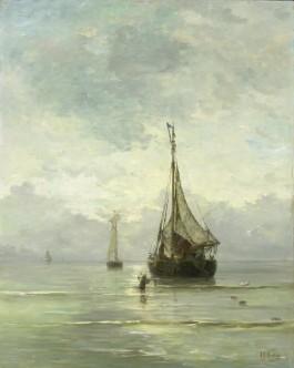 Kalme zee, olieverf op doek (H.W. Mesdag 1860-1900). Collectie Rijksmuseum.
