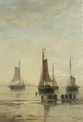 Scheveningse bommen voor anker, olieverf op doek (H.W. Mesdag, 1860-1889). Collectie Rijksmuseum.