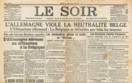 Voorpagina van de Brusselse krant Le Soir van 4 augustus 1914 met melding van de Duitse aanval op België