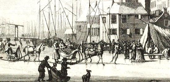 Arresleden op het ijs van Amsterdam in de winter van 1763. (Tekening H. Schoute)