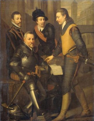 Portret van de vier broers van Willem van Oranje: de graven van Nassau Jan VI (1536-1606), zittend, Hendrik (1550-74), Adolf (1540-68) en Lodewijk (1538-74), ca. 1630, Wybrand de Geest.