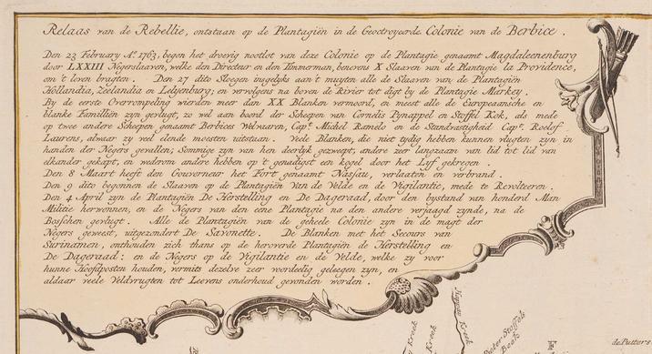 Het 'Relaas van de Rebellie' in Berbice, weergegeven op een kaart van de kolonie. (Zeeuws Archief, Zelandia Illustrata 1, inv. nr. 1625.
