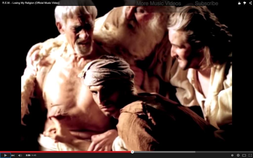 Still uit de videoclip Losing My Religion van R.E.M., 1991