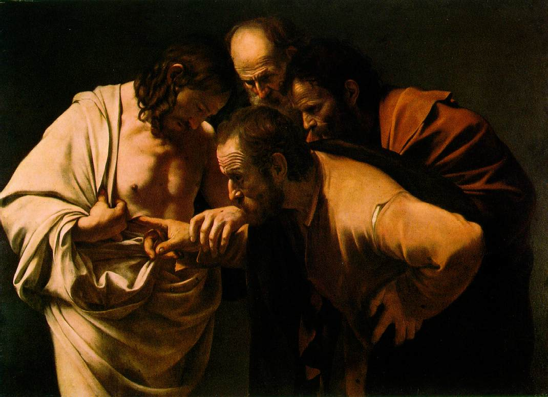 Caravaggio, De ongelovige Thomas, 1603, olieverf op doek, 107 x 146 cm, Potsdam, Stiftung Preußische Schlösser und Gärten Berlin-Brandenburg