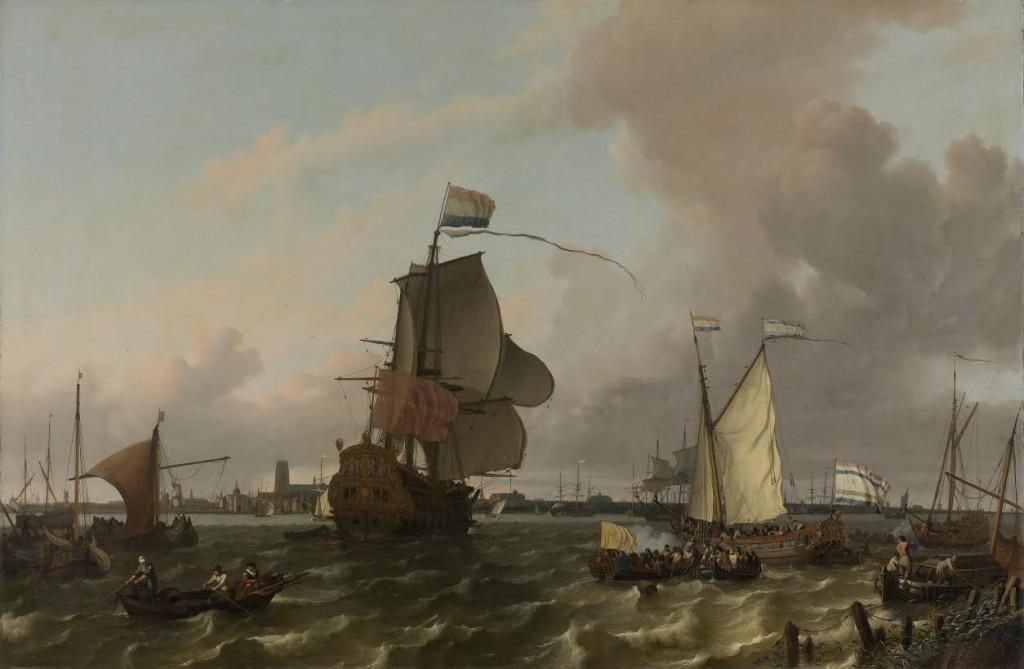 Ludolf Bakhuysen. Het oorlogsschip Brielle op de Maas bij Rotterdam (1689)