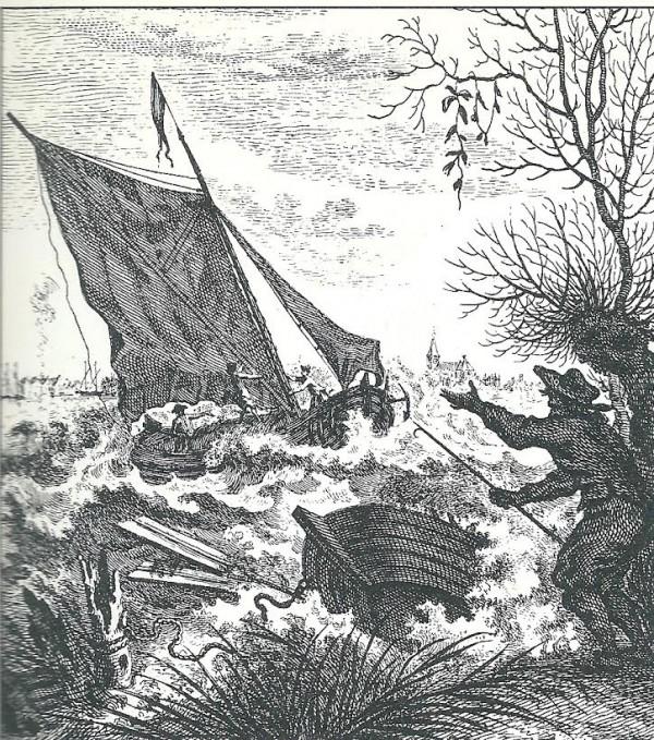 'Ongewoone Waterbeweging in het Haarlemmer Meer, bespeurt op den 1 November 1755′ Gravure door T. Houttuyn (Provinciale Atlas NoordHolland).