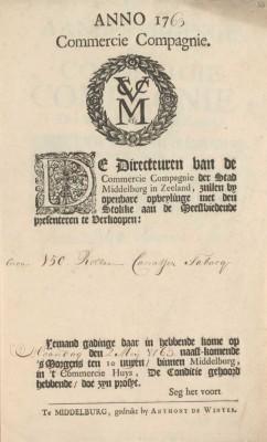 Aankondiging van de veiling van tabak op 2 mei 1763 uit de lading van het schip d' Eenigheid.