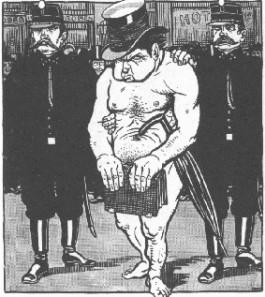 Cartoon: Kuypers arrestatie met bijbel. Bron: L.J. Jordaan in Het Leven Geïllustreerd, ca. 25 sept. 1911.