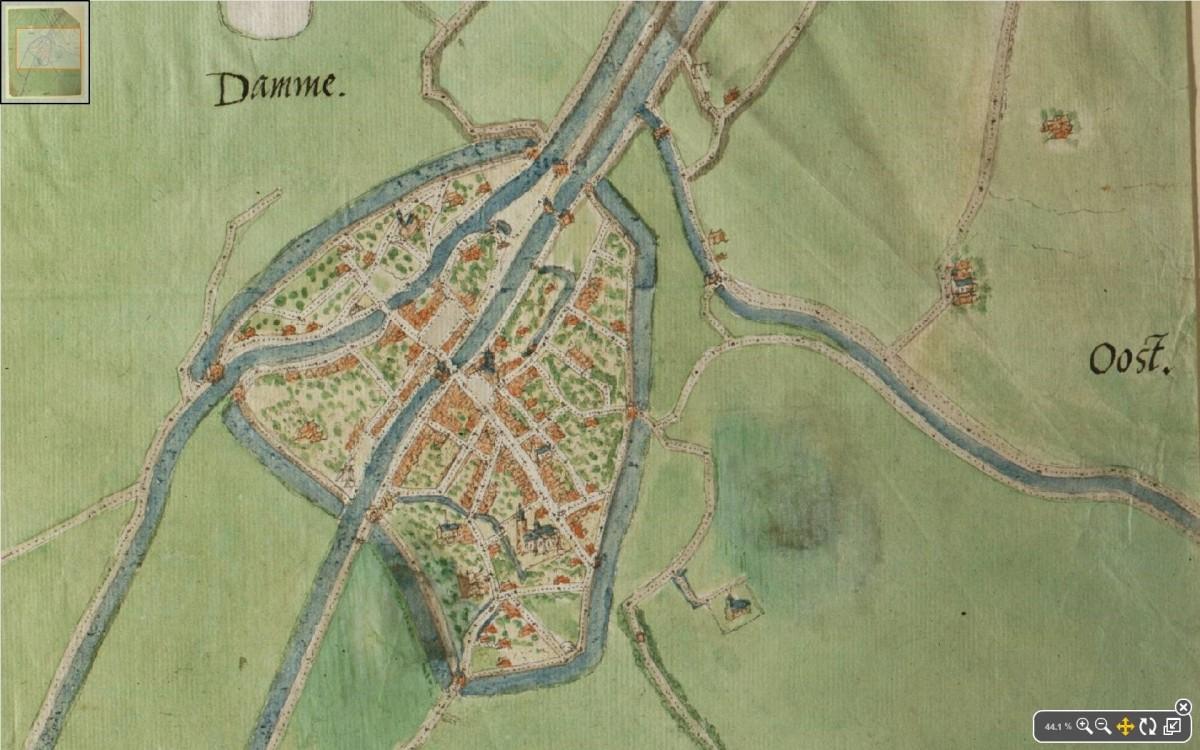De Lieve in Damme, kaart van Jacob van Deventer, circa 1560