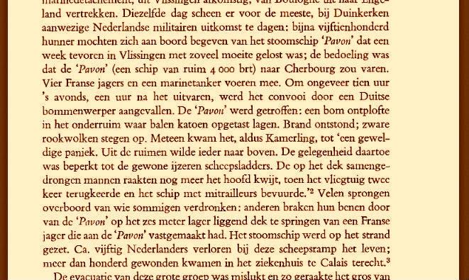 Dr. L. de Jong wijdde in zijn 'Koninkrijk der Nederlanden in de Tweede Wereldoorlog' een te rooskleurige halve pagina (deel 3, pag. 491) aan het bombardement van de Pavon.