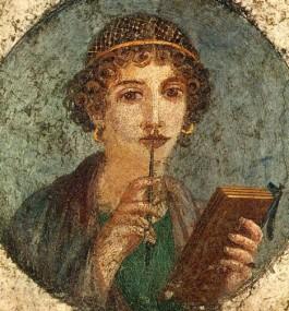 Zogenaamde Sappho, jonge vrouw met schrijfstift en wastafel. Romeins fresco in de vierde stijl, 45-100 n.Chr., Pompeï, Regio VI, Insula occidentalis.