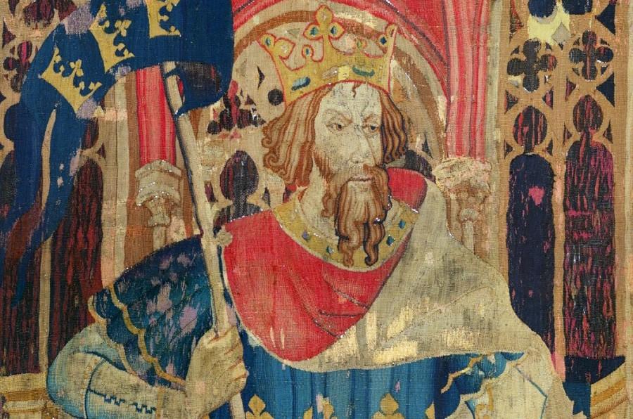 Koning Arthur op een tapijt uit circa 1385