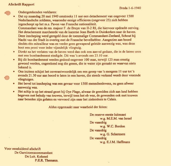 Afschrift van de brief van vaandrig Gert Schermers en drie andere officieren over de onverantwoorde wijze waarop ongeveer 1500 manschappen werden blootgesteld aan Duitse bombardementen.