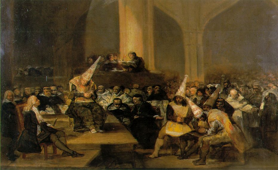Inquisitie bijeenkomst geschilderd door Francisco Goya