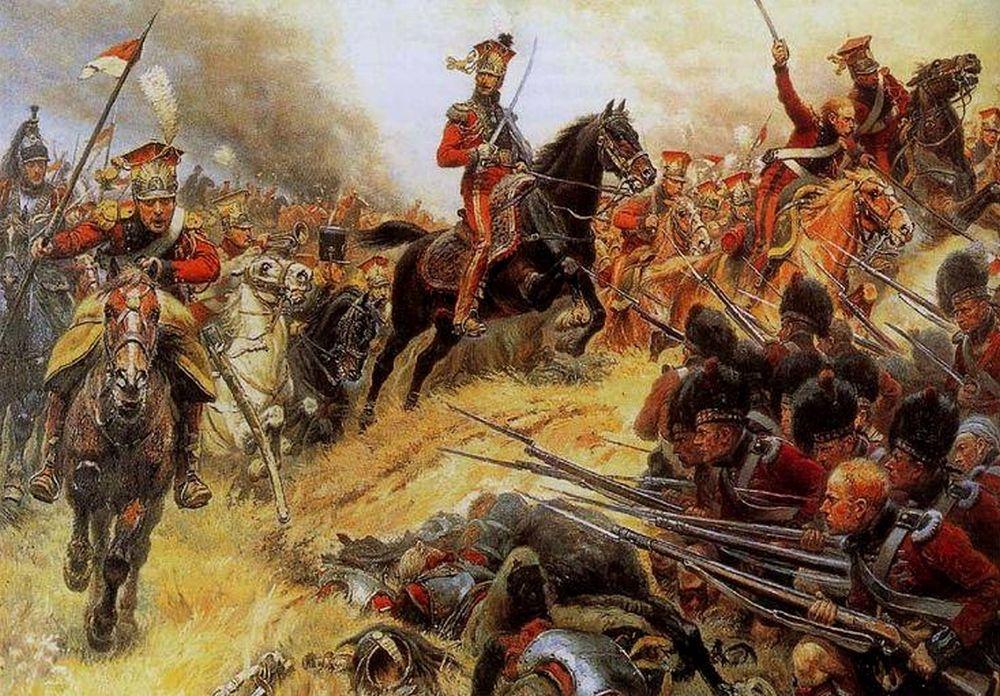 Le général de Colbert-Chabanais menant les lanciers rouges à la bataille de Waterloo' (foto: wiki. Doek van Alphonse Lalauze -upload van Khozam)