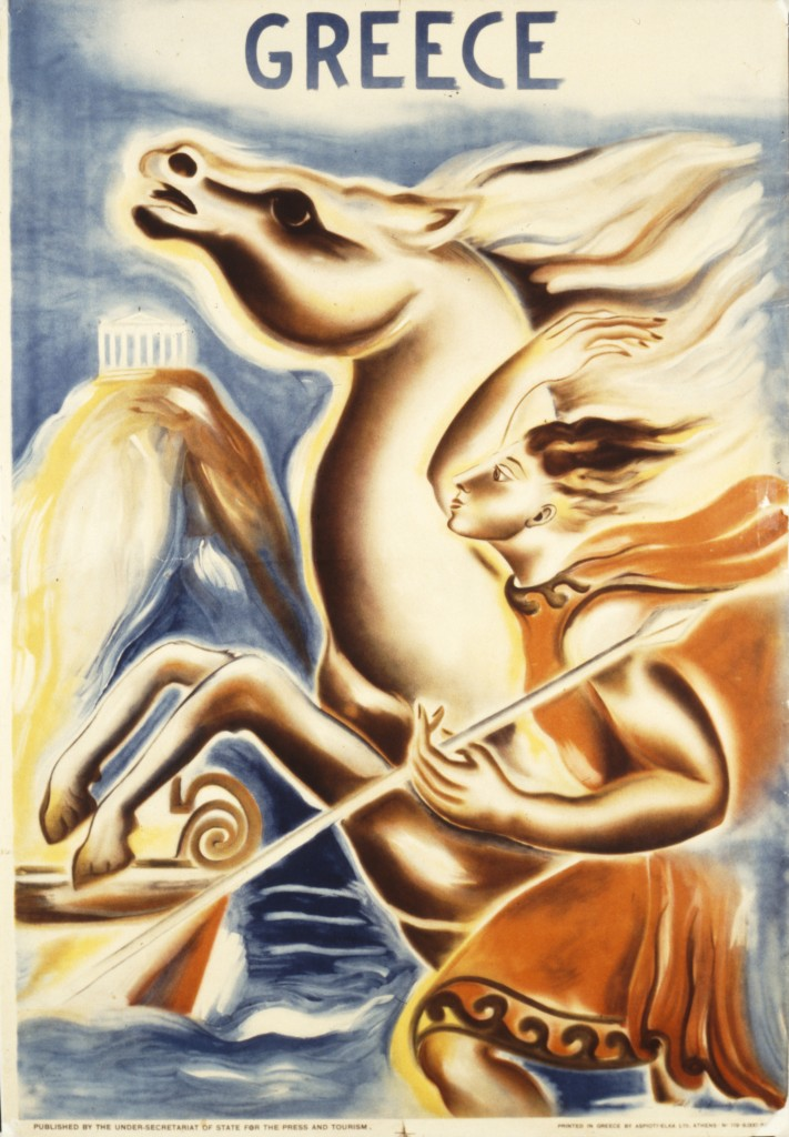 Poster of Acropolis and Apollo, artist: S. Polychroniadi, 1938, published by the Deputy Ministry of Press and Tourism