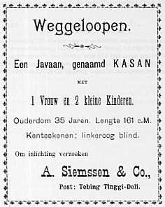 Advertentie over een weggelopen slaaf in Nederlands-Indië, circa 1900. Ver ná de afschaffing van de slavernij dus! Bron: doorbraak.eu