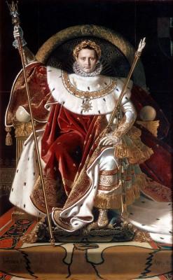 Napoleon op de keizerlijke troon, met laurierskrans in de stijl van Julius Caesar. Bron: Wikimedia.