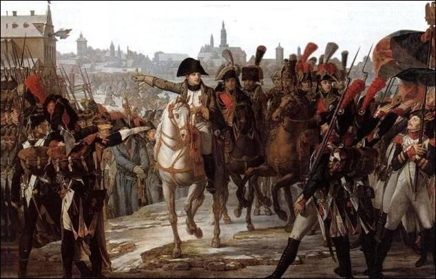 Napoleon bij zijn troepen voor de aanval op Augsburg in oktober 1805. Bron: http://www.napoleonicsociety.com/