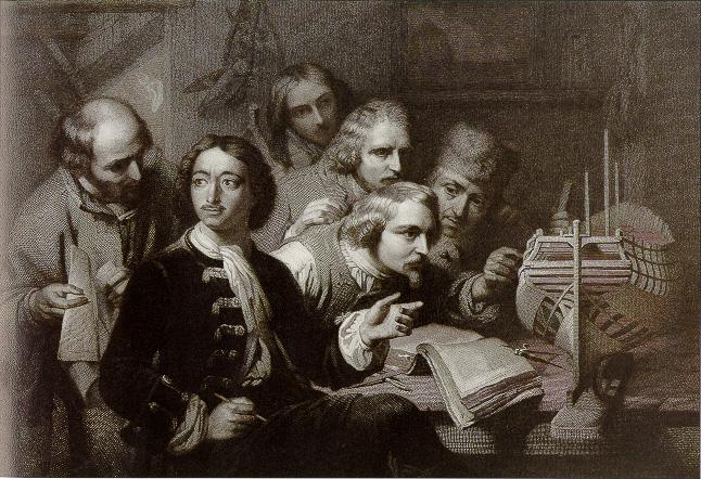 Peter de Grote met Nederlandse scheepsbouwers. Gravure van J.B. Michel n.a.v. het origineel van G. Vapper. Bron: http://www.sscnet.ucla.edu/