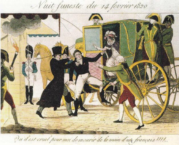 De moord op de hertog van Berry in februari 1820 door een anti-monarchist. De Europese leiders maakten er een centraal geleide samenzwering van.