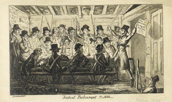 Britse cartoon waarop gezagsgetrouwe demonstranten voor grondwetsherziening in verband werden gebracht met de Cato Street-samenzwering van 1820 die tot doel had de premier en andere leden van zijn kabinet te vermoorden.