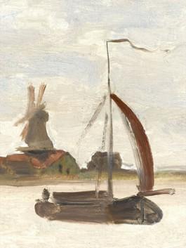 Claude Monet, De Voorzaan en de Westerhem, 1871 (collectie Zaans Museum) detail schip