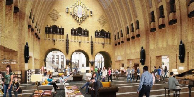 De centrale hal moet podium en ontmoetingsplek worden (bibliotheekutrecht.nl)