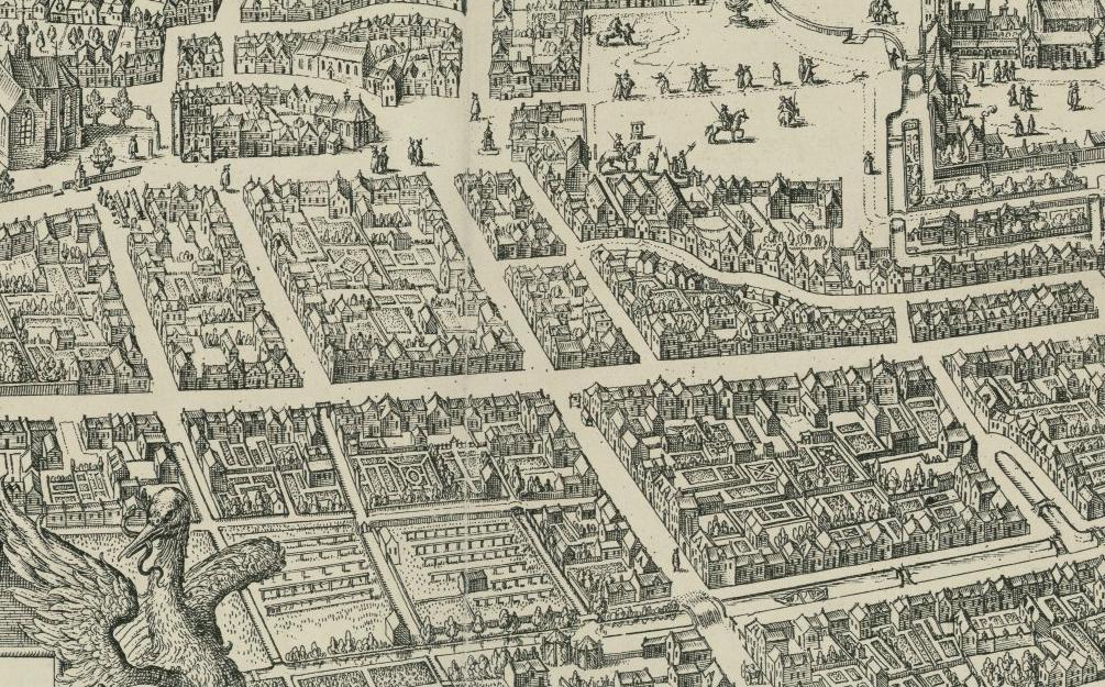 Detail Plattegrond 's-Gravenhage, Jacques de Gheyn, 1598. Linksonder de raamvelden. Collectie HGA.