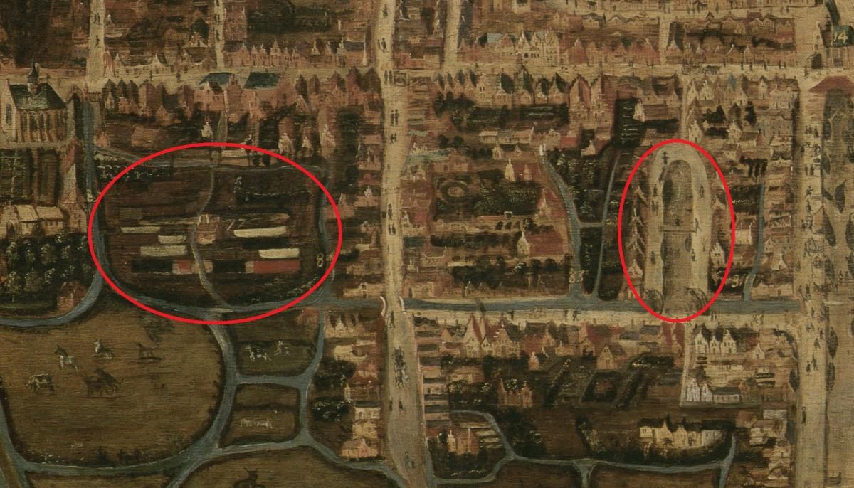 Detail plattegrond Den Haag door C. Elandts uit 1663 naar een origineel uit 1570. Links de raamvelden, rechts de Voldersgracht. Collectie HGA.
