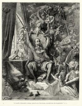 Don Quichot, zoals afgebeeld op een boekillustratie uit 1863, van de hand van Gustave Doré