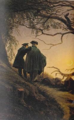 'Zwei Männer in der Betrachtung des Mondes' (1819), schilderij van Casper David Friedrich