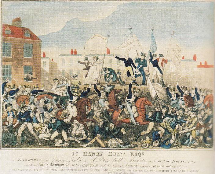 In augustus 1819 riepen politierechters in Manchester troepen op om een vreedzame demonstratie voor parlementaire hervormingen neer te slaan. Ze overtraden daarmee de wet, die voorschreef dat ze eerst de Oproerwet hadden moeten laten voorlezen. De gewelddadigheden die volgden kostten vijftien demonstranten het leven Honderden raakten gewond.