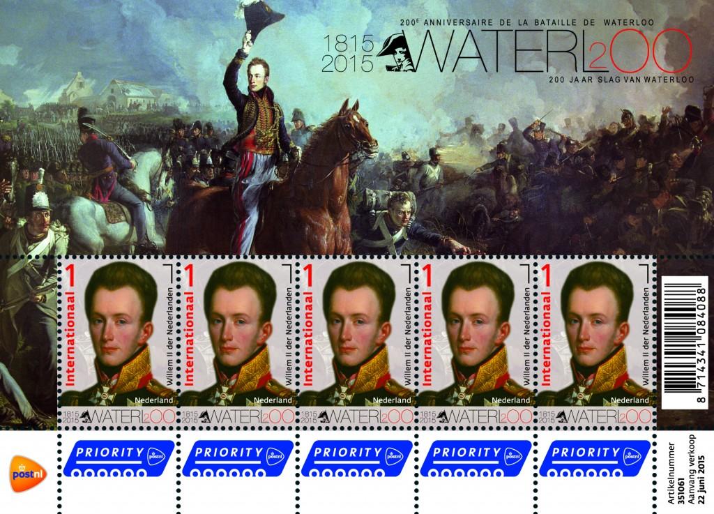 Postzegel naar aanleiding van '200 jaar Slag van Waterloo' (PostNL)
