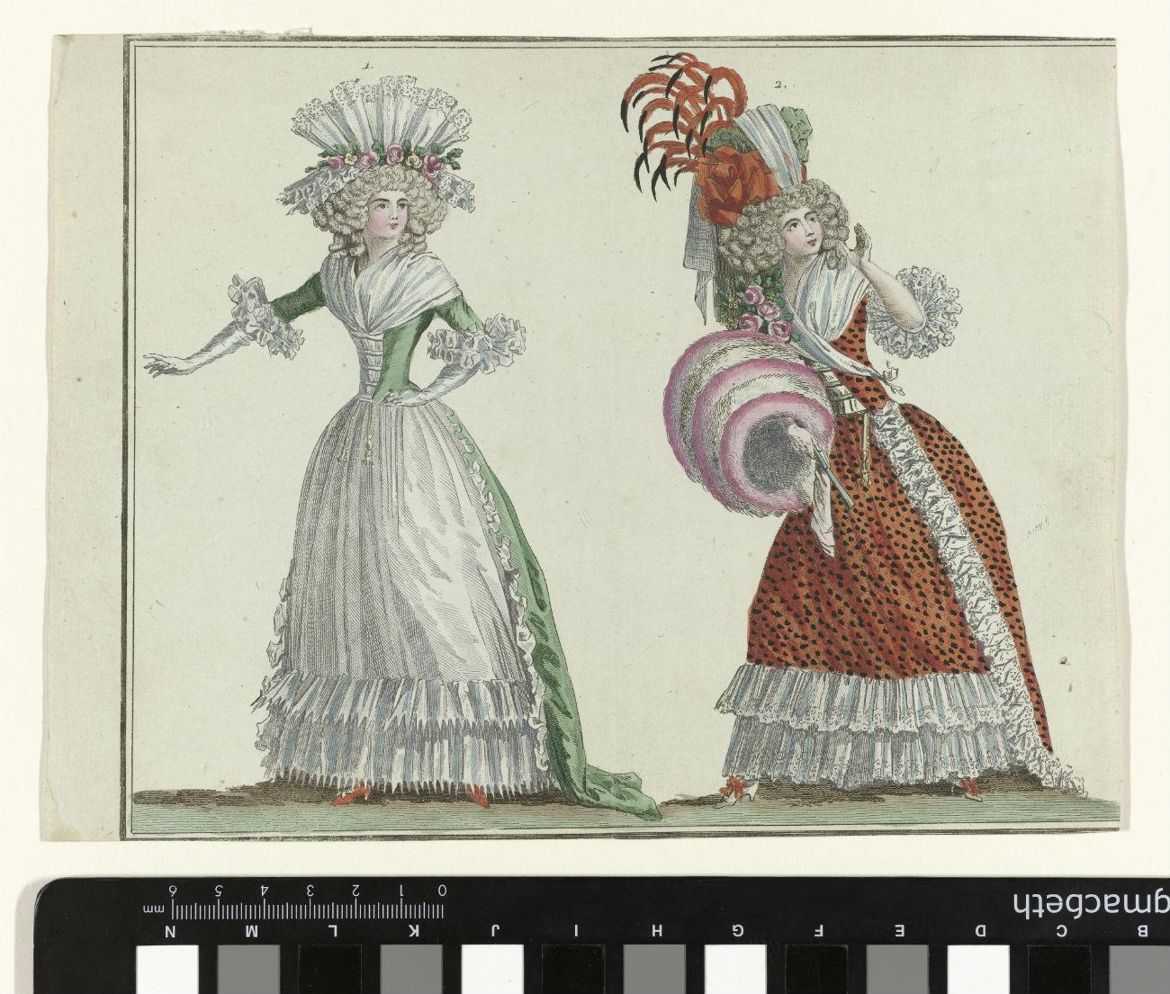 Magasin des Modes Nouvelles Françaises et Anglaises, 20 février 1788, Pl. 1,2 (Rijksmuseum)