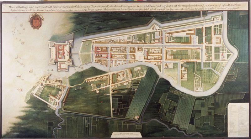 Reproductie van een plattegrond van Batavia uit circa 1627, collectie Tropenmuseum
