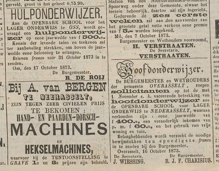 ...advertenties uit de Graafse Courant van 1873...