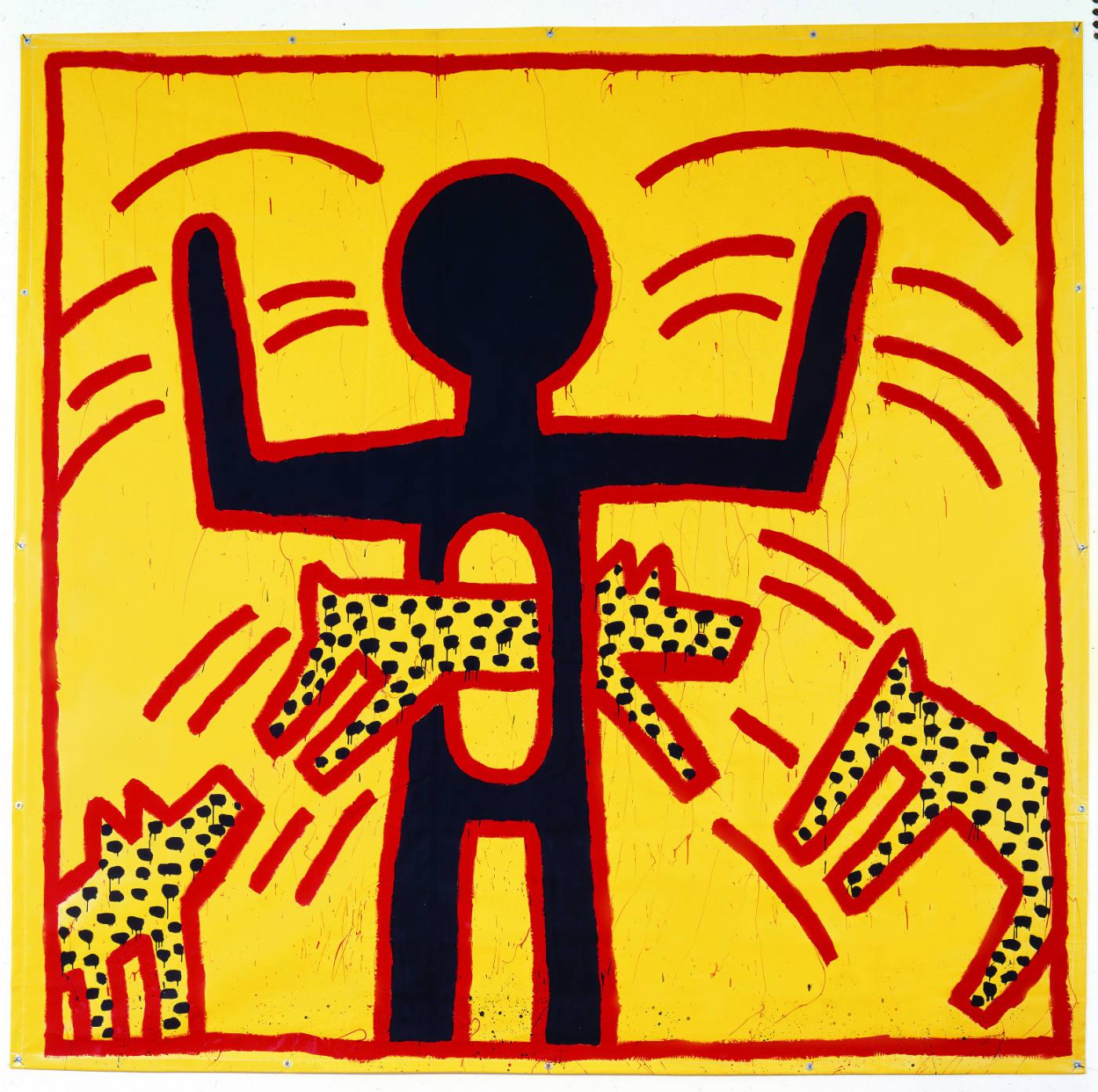Keith Haring, zonder titel, vinylverf op vinyltarp 1982 (c) Keith Haring Foundation