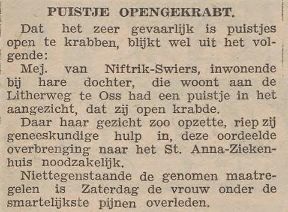 Het krabben van een puistje werd mejuffrouw Van Niftrik fataal