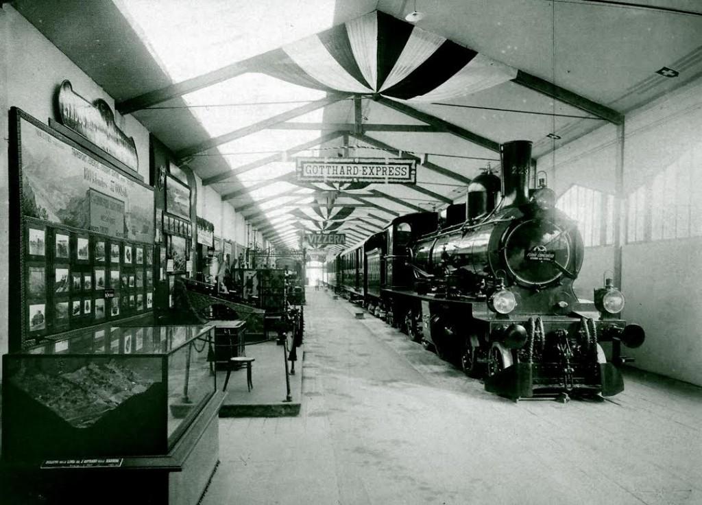 Gotthard Express in het Zwitserse transportpaviljoen, 1906