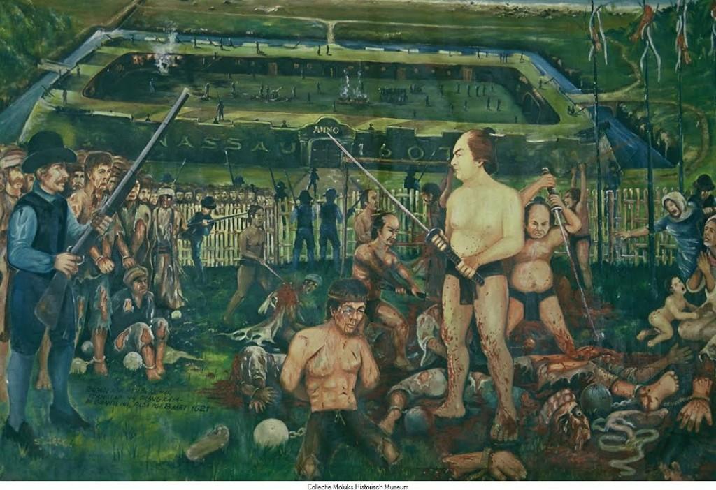 Moord op de Banda-eilanden, 1621. Bron: Moluks Historisch Museum