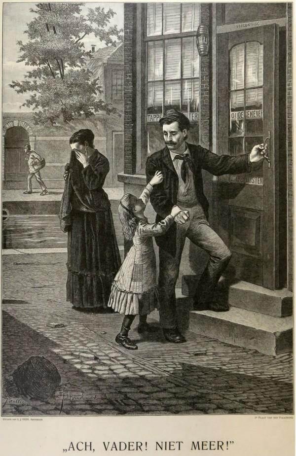Prent 'Ach Vader, niet meer!' van de Volksbond tegen Drankmisbruik, ca. 1880, obj.nr A 37468