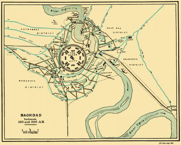 De Ronde Stad Bagdad. Kalief Al-Mansoer bouwde Bagdad als een ronde stad tussen 762 en 767. De Mongolen vernietigden de stad geheel in 1258. (wiki)