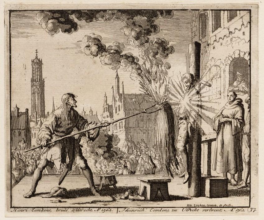 Gefantaseerde 17e-eeuwse voorstelling van Jan Luyken met de terechtstelling van Eemkens