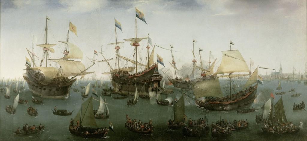 De terugkomst in Amsterdam van de tweede expeditie naar Oost-Indië, Hendrik Cornelisz. Vroom, 1599