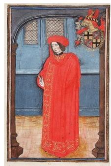Lodewijk van Gruuthuse als ridder van het Gulden Vlies. Den Haag, KB, KW 76 E 10, fol. 69r