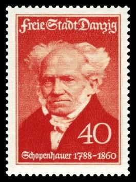 Arthur Schopenhauer op een postzegel uit 1938. Bron: Wikimedia