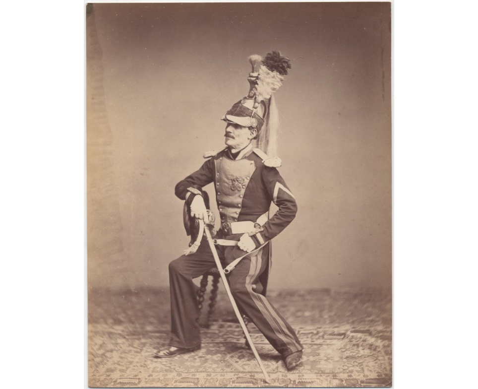 Foto van Franse oud-strijder Manbarr, ca. 1857-1858 (The Anne S. K. Brown Military Collection)