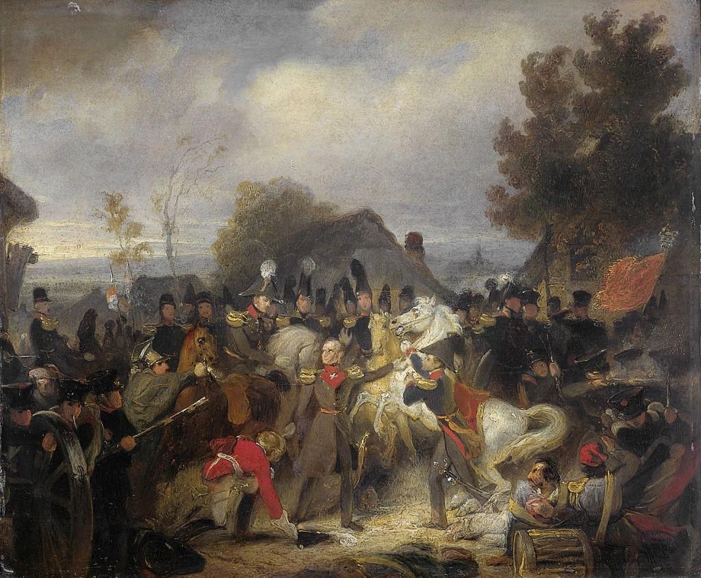 De vervanging van het gewonde paard van de prins van Oranje, de latere koning Willem II, tijdens het gevecht bij Boutersem, 12 augustus 1831 - Cornelis Kruseman, ca. 1837 (Rijksmuseum Amsterdam)